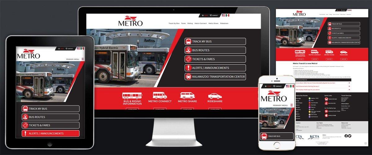 Image of K-Metro Example Website.